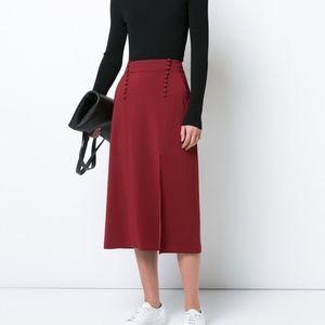 A.L.C sydney silk mid skirt w slit & button detail